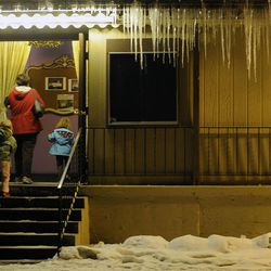 """Spectators makes their way into the Valley Center Playhouse in Lindon for the show """"The Best Christmas Pageant Ever"""" at the Valley Center Playhouse in Lindon on Thursday, Dec. 12, 2013. Owners Keith and Jody Renstrom are closing the playhouse on Dec. 21 after 38 years of community theater."""