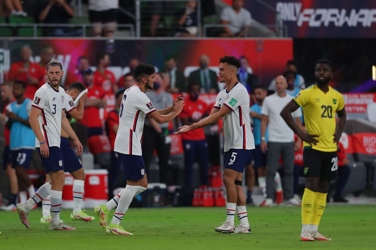 Ricardo Pepi #14 of United States celebrates after scoring the opening goal during the FIFA World Cup Qatar 2022 qualifiers match against Jamaica at Q2 Stadium on October 7, 2021 in Austin, Texas.