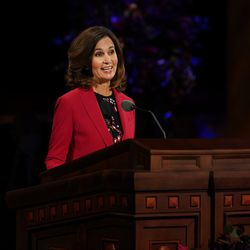 Sister Lisa Harkness, first counselor in the Primary general presidency, speaks during the Sunday morning session of the 190th Semiannual General Conference of The Church of Jesus Christ of Latter-day Saints on Oct. 4, 2020.