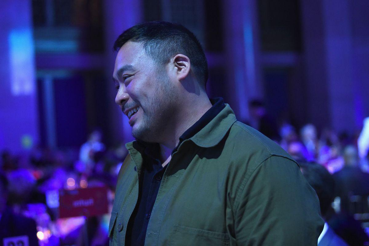 David Chang smiling in profile