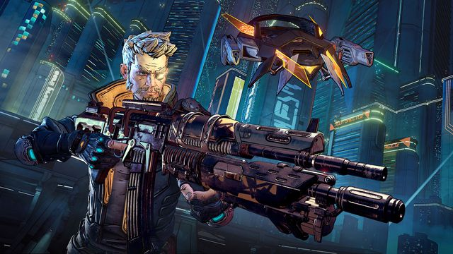 Showing off a large gun in Borderlands 3