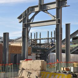 Girders up in right field, with jumbotron supports in background -