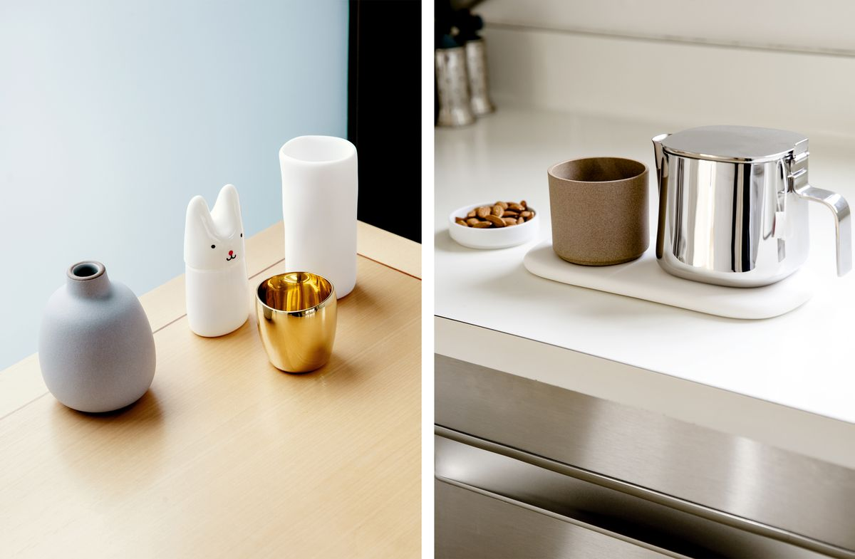 Left: some small vases + trinkets on a ledge by the window. Right: a silver teapot on a small tray in the kitchen.