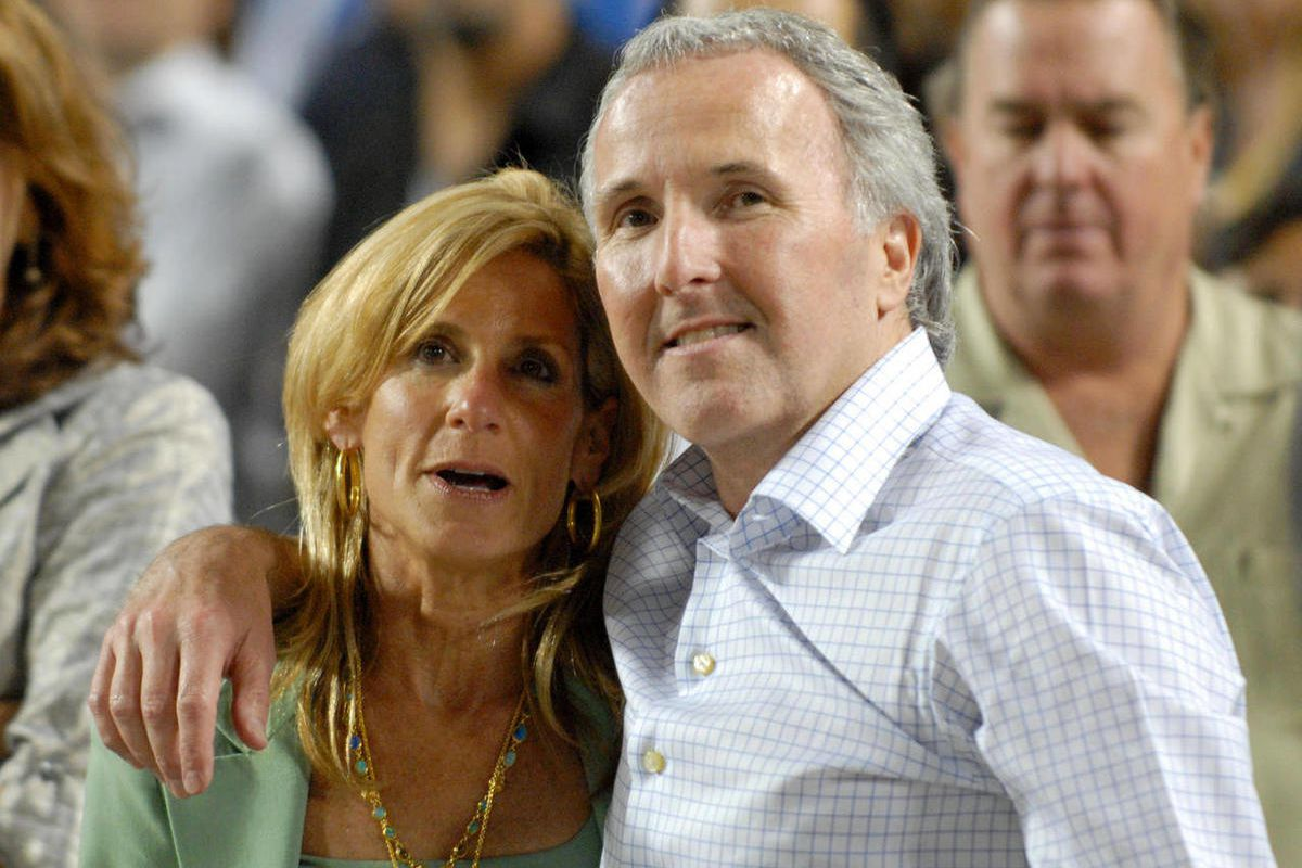 FILE - In this Sept. 25, 2008 photo, Los Angeles Dodgers owner and chairman Frank McCourt and his wife Jamie McCourt after the Dodgers' baseball game against the San Diego Padres in Los Angeles. The ex-wife of former Los Angeles Dodgers owner Frank McCour