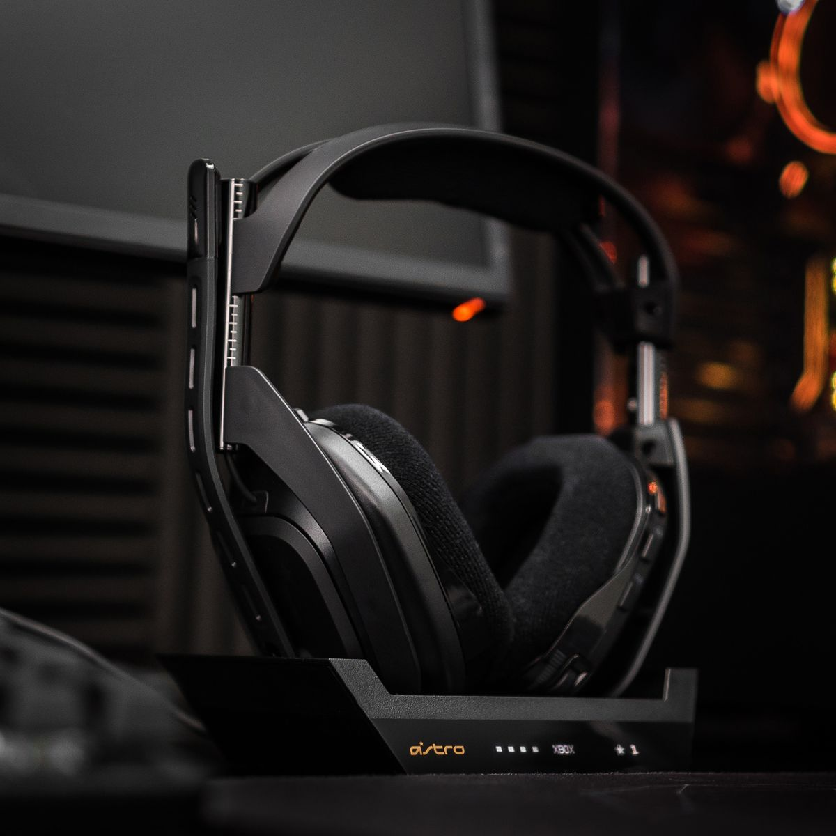 The Astro A50 for Xbox and PC shown here in its charging cradle.
