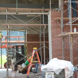 3:01 p.m. Photo to help illustrate the wider passageway between the inner and outer bleacher walls -