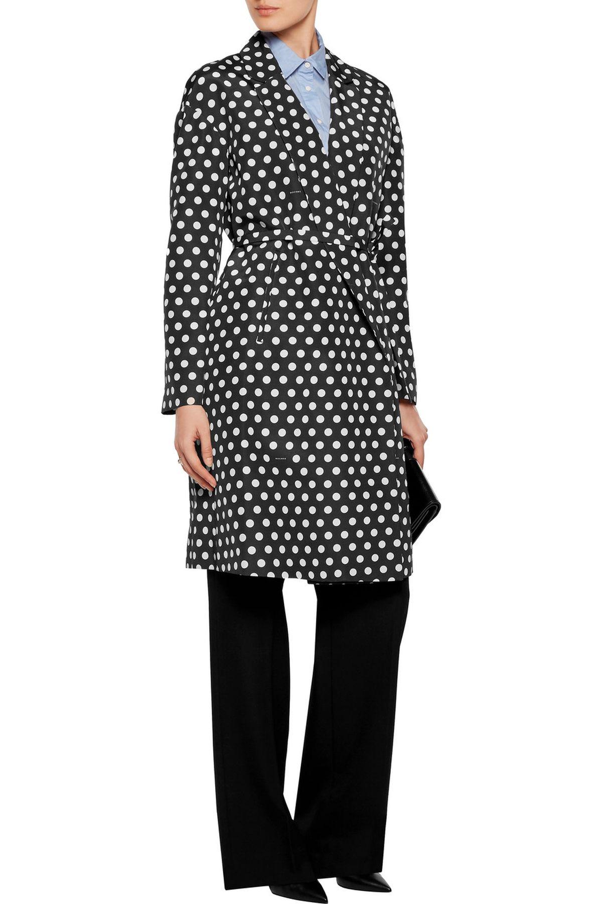 A model in a polka dot coat Rochas Polka-Dot Cotton and Silk-Blend Twill ...