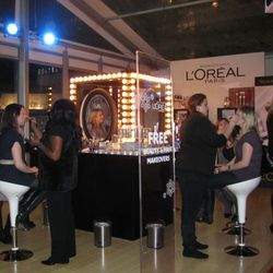 Free makeovers in process at the L'Oréal bar