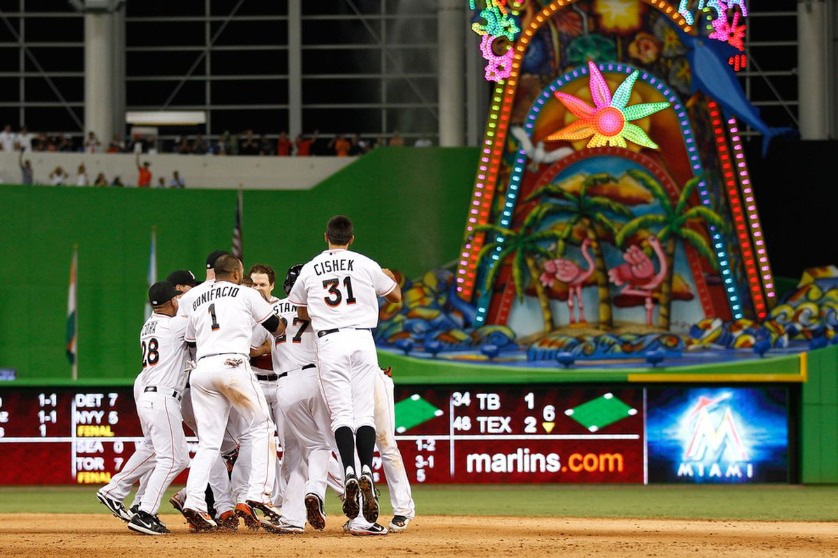 I thought this was an appropriate header picture, as it shows both the Marlins celebrating, indicating the result of the game, and it shows the Abomination in Centerfield, which makes me slightly less sad about tonight's contest.