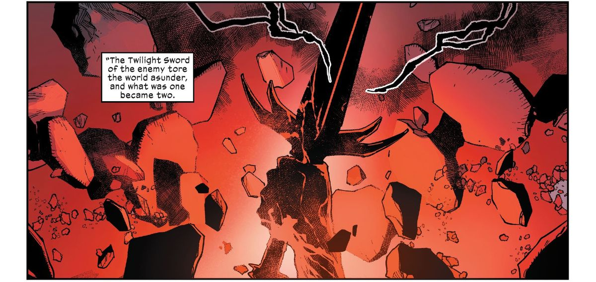 The Twilight Sword sunders Okkara into Krakoa and Arakko in X-Men #12, Marvel Comics (2020).
