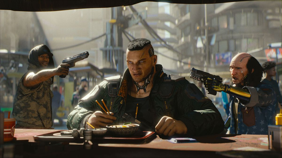 An augmented male form sits eating noodles at an outdoor stall. Two men, one with a yellow metal arm, stand behind him with guns drawn. Cyberpunk 2077, circa 2018.