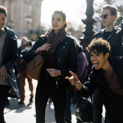 Models headed from a show in Paris.