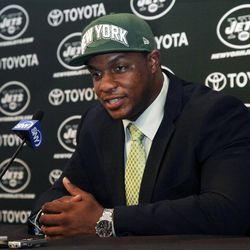 Quinton Coples is introduced during a New York Jets football news conference, Friday, April 27, 2012, in Florham Park, N.J. The Jets selected Coples, a North Carolina defensive end, as their first-round pick in the NFL draft on Thursday. He was the 16th pick during the draft.