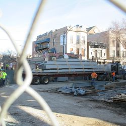 Trailer loaded with steel parked on Sheffield across from the main bleacher entrance -