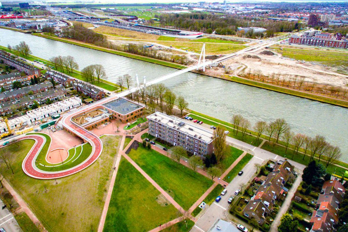 new bridge in the Netherlands serves as roof of school