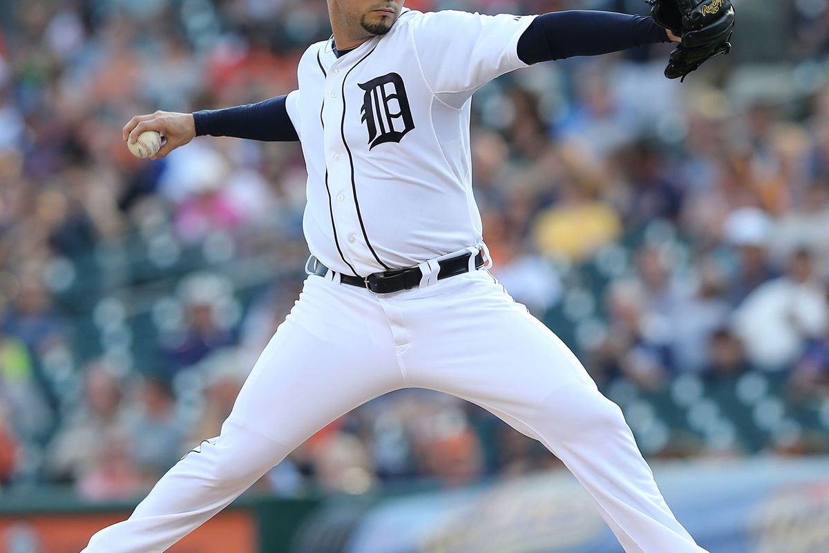 DETROIT, MI - AUGUST 03: Anibal Sanchez #19 of the Detroit Tigers pitches in the first inning during the game against the Cleveland Indians at Comerica Park on August 3, 2012 in Detroit, Michigan.  (Photo by Leon Halip/Getty Images)