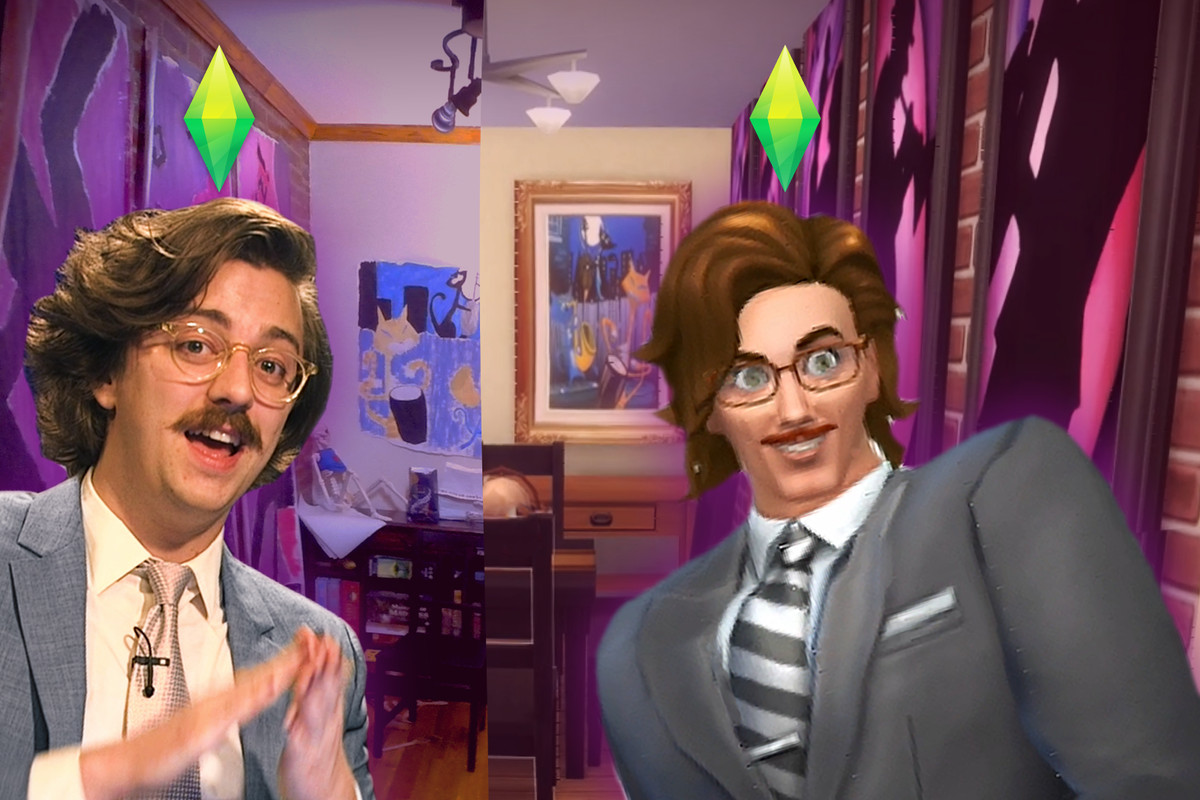 Brian David Gilbert stands next to a Sim version of himself. Behind them is a split room, one real, one recreated in The Sims.
