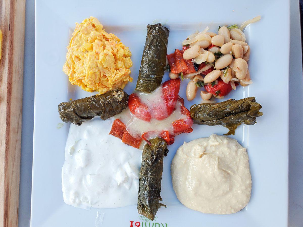 Carrot tarator, bean salad, hummus, and tztatziki from Cafe Istanbul