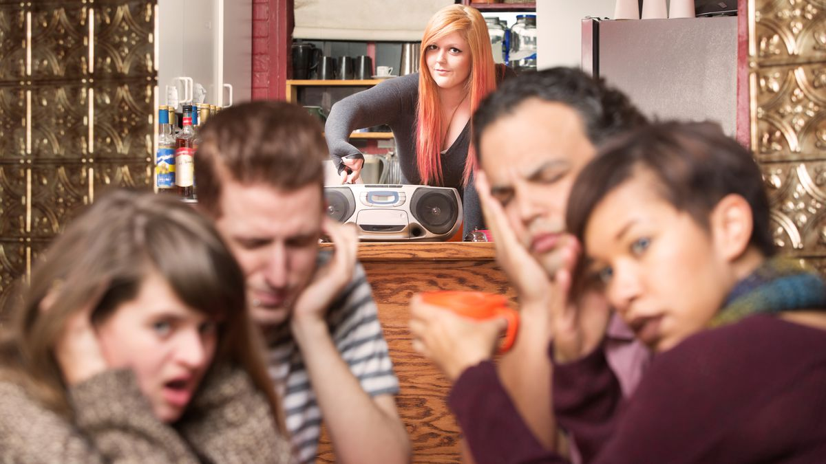 loud restaurant stock image
