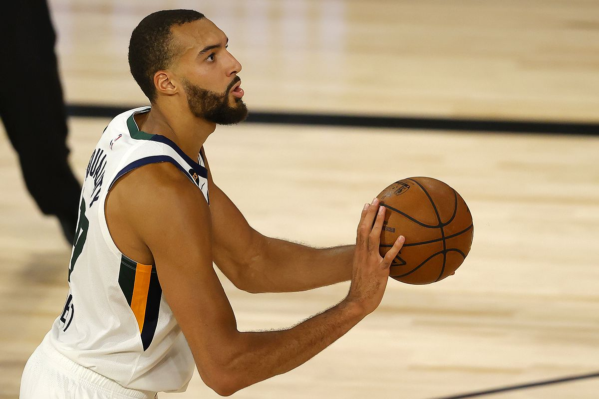 Rudy Gobert of the Utah Jazz shoots the ball during the fourth quarter against the Denver Nuggets in Game Five of the Western Conference First Round during the 2020 NBA Playoffs at The Field House at ESPN Wide World Of Sports Complex on August 25, 2020 in Lake Buena Vista, Florida.