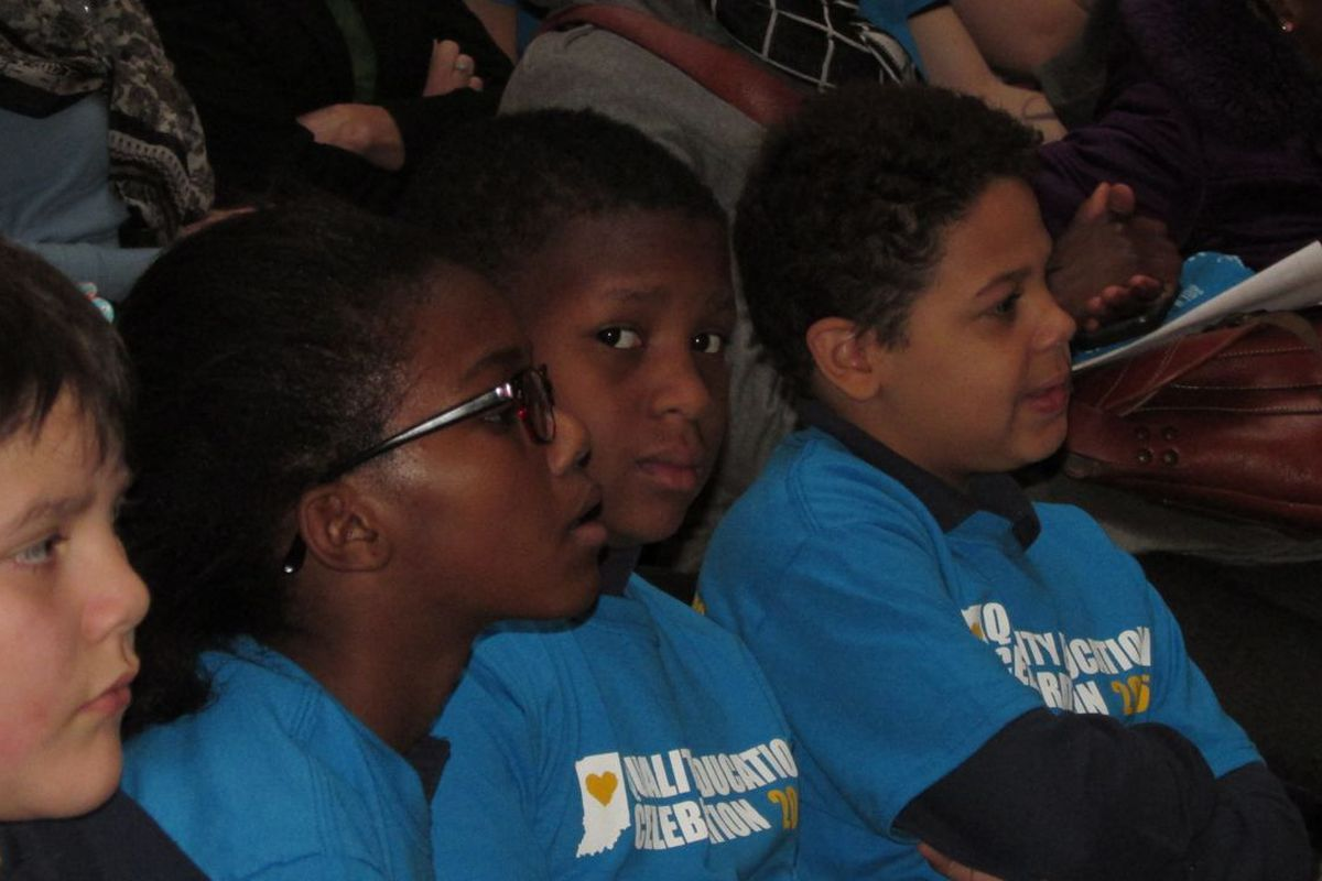 Students using vouchers and from charter schools attended a rally for school choice at the Statehouse in February.