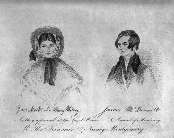 Sketches of Grace Marks and James McDermott from their 1843 trial.