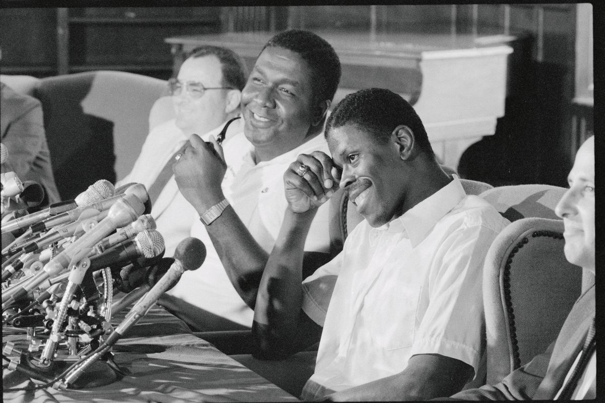 Patrick Ewing and John Thompson Laughing at News Conference