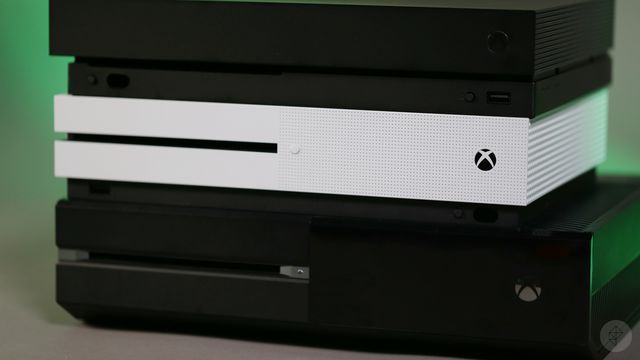 Xbox One, Xbox One S, Xbox One X stack - front right angle view