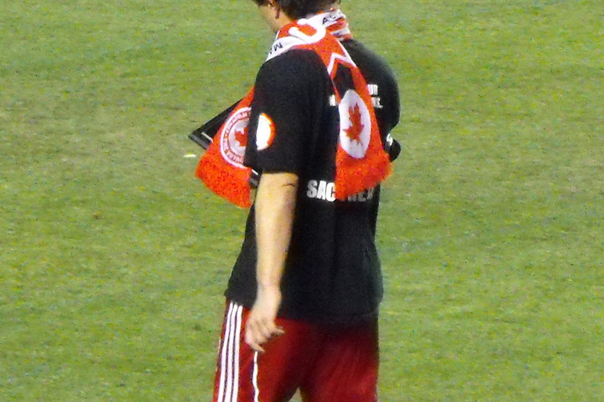 """My personal hero, Tomasz Radzinski, walks off the grass in Edmonton wearing a """"Sack the CSA"""" shirt following a World Cup qualifier against Mexico on October 16, 2008. (Benjamin Massey/Eighty Six Forever)"""