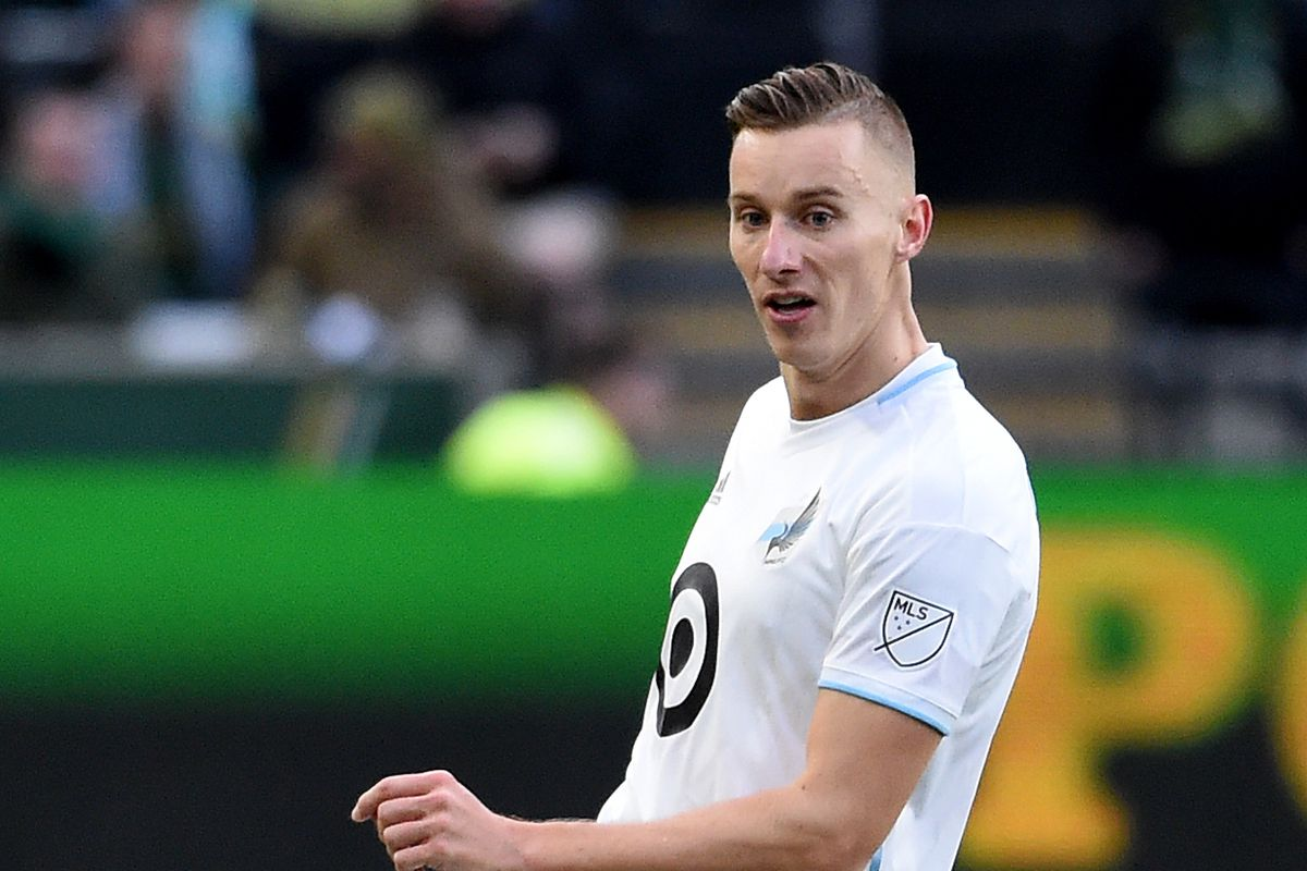 Jan Gregus of Minnesota United passes the ball during the first half against the Portland Timbers at Providence Park on March 01, 2020 in Portland, Oregon. Minnesota won 3-1.