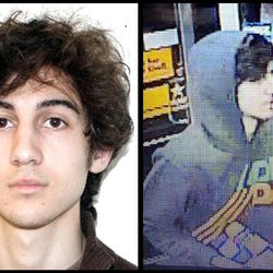 This combination of photos provided on Friday, April 19, 2013 by the Federal Bureau of Investigation, left, and the Boston Regional Intelligence Center, right, shows a suspect that officials have identified as Dzhokhar Tsarnaev, being sought by police in connection with Monday's Boston Marathon bombings. (AP Photo/FBI, BRIC)