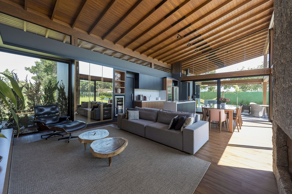Living room with timber ceiling