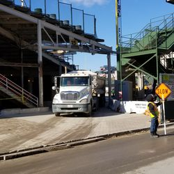 Truck exiting Wrigley