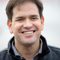 Republican presidential candidate, Sen. Marco Rubio, R-Fla. smiles as he talks to members of the media following his speaking at Rastrelli's Tuscany Special Events Center in Clinton, Iowa, Tuesday, Dec. 29, 2015. (AP Photo/Andrew Harnik)