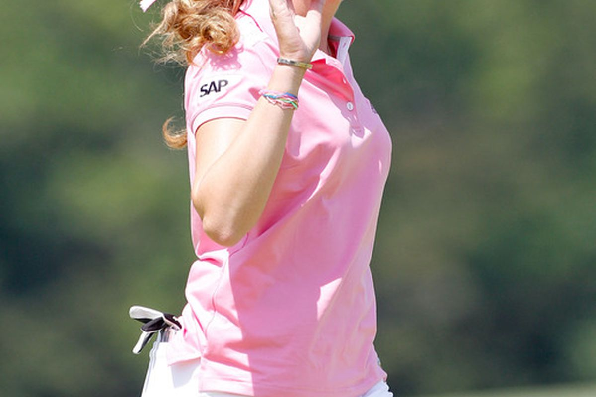 OAKMONT PA - JULY 11:  Paula Creamer  reacts to a par putt on the 5th hole during the final round of the 2010 U.S. Women's Open at Oakmont Country Club on July 11 2010 in Oakmont Pennsylvania.  (Photo by Sam Greenwood/Getty Images)