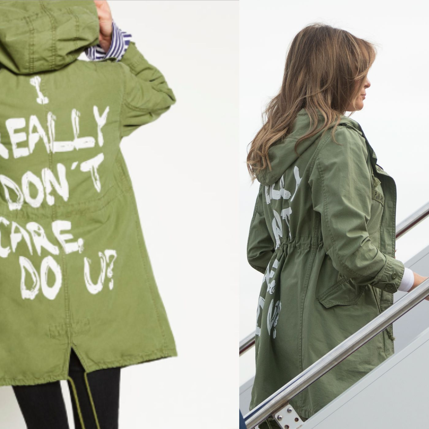 "5c03b03efea Melania Trump wears ""I really don t care"