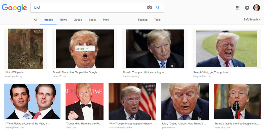 """Results from a recent image search for """"idiot."""""""