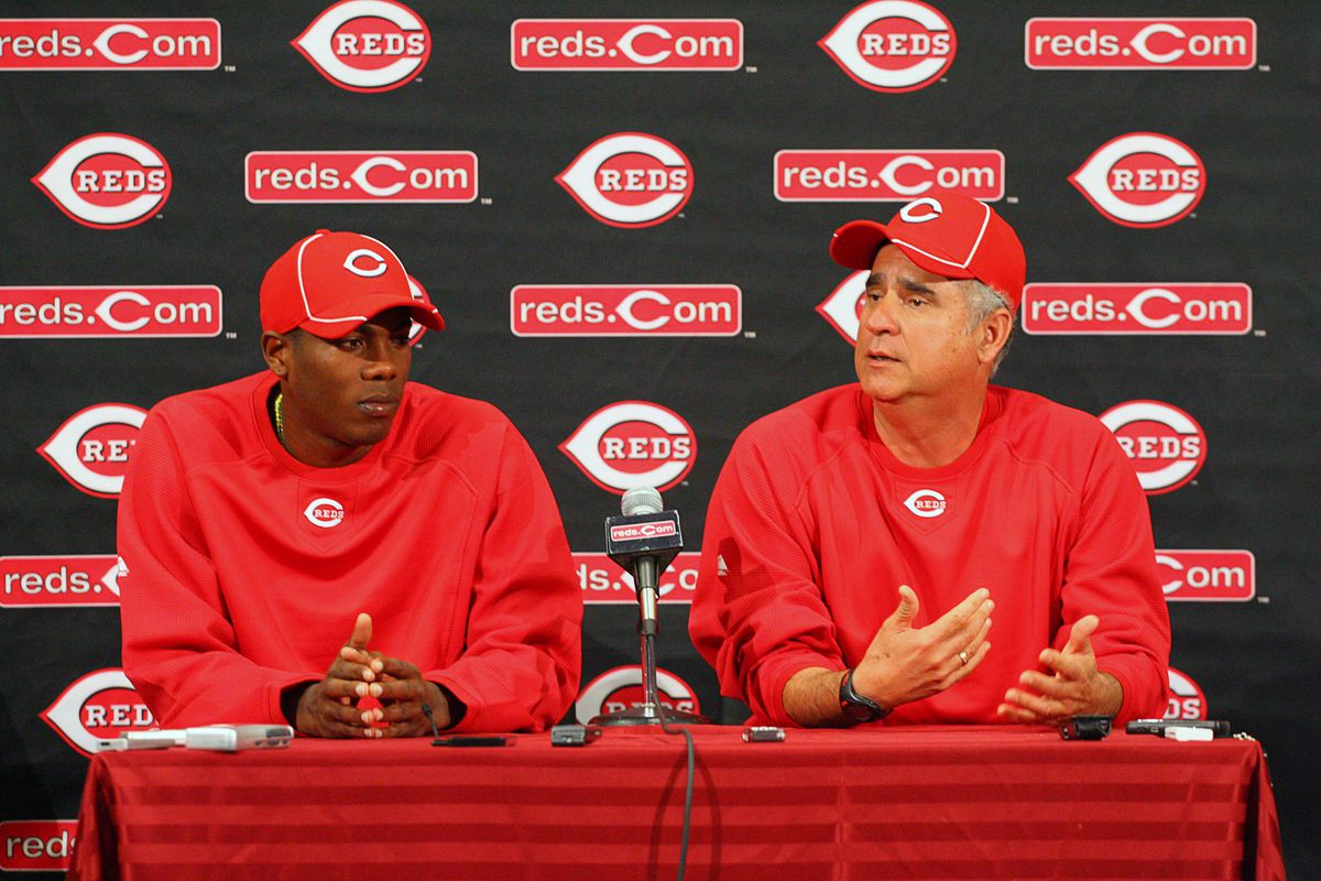 Aroldis Chapman at his introductory news conference in 2010, with coach Tony Fossas interpreting