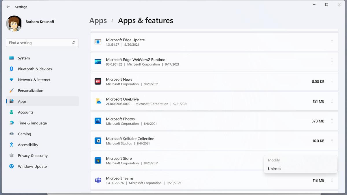 También puede desinstalar aplicaciones yendo a configuración.