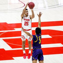 Utah Utes guard Alfonso Plummer (25) sinks a 3-pointer over California Golden Bears guard Jarred Hyder (3) during the game at the Huntsman Center in Salt Lake City on Saturday, Jan. 16, 2021.