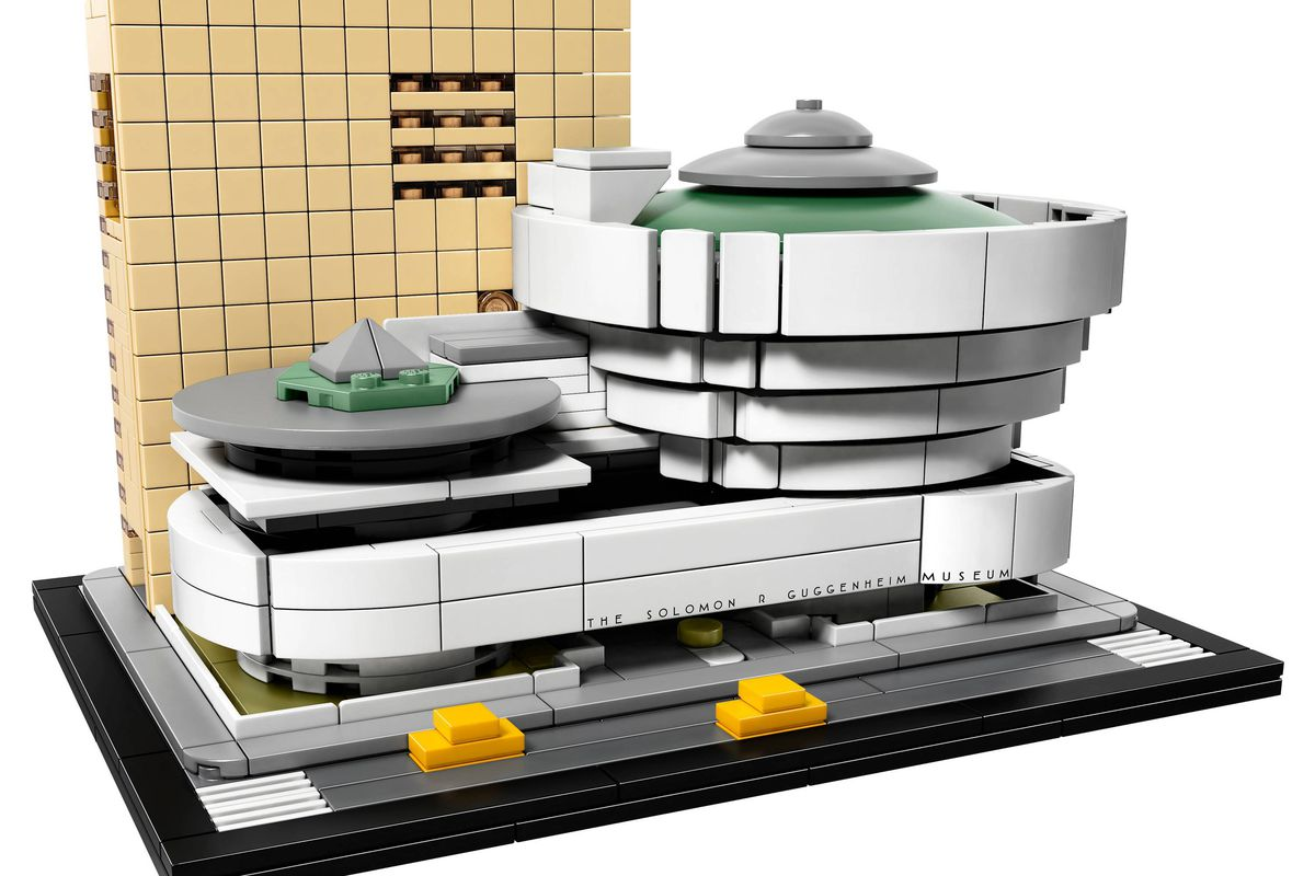Shot of miniature model of museum with rotunda structure and adjoining tower made with plastic interlocking bricks.