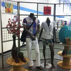 Mannequins showing off Goodwill's idea of spring's top trends. (White bootcut jeans, anyone? No?)