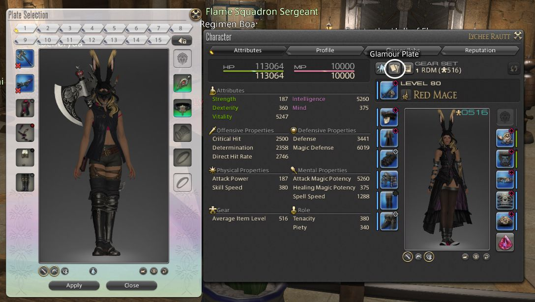 A screenshot showing off where to find the glamour plate button on your character screen