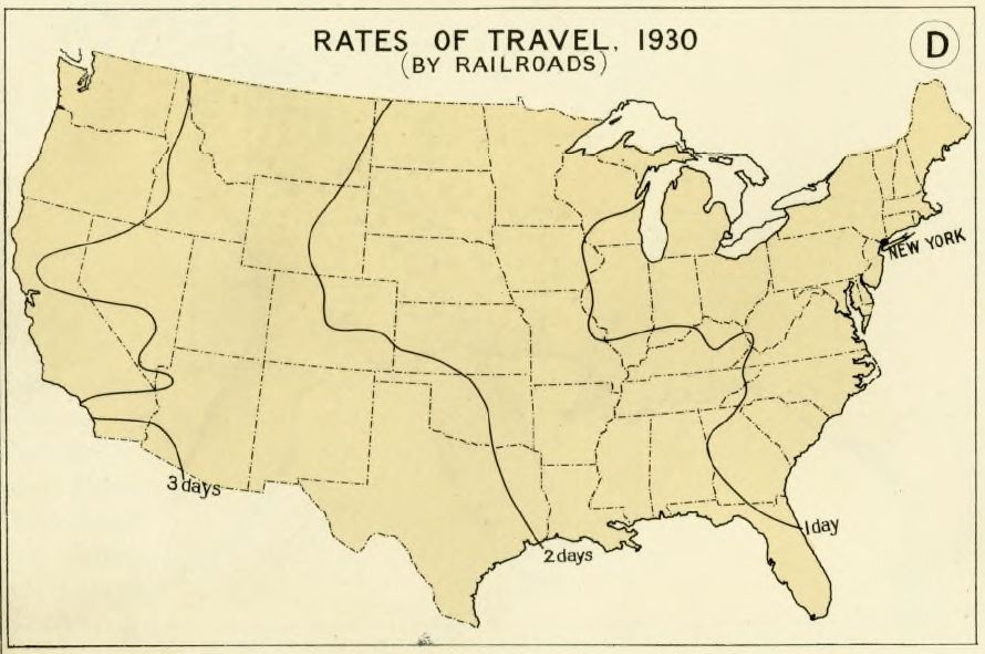 Map of railroad travel times in 1930. (Hathi Trust)