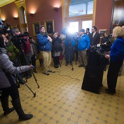 Salt Lake City Mayor Jackie Biskupski holds a press conference inside the City-County Building following her inauguration on Monday, Jan. 4, 2016.