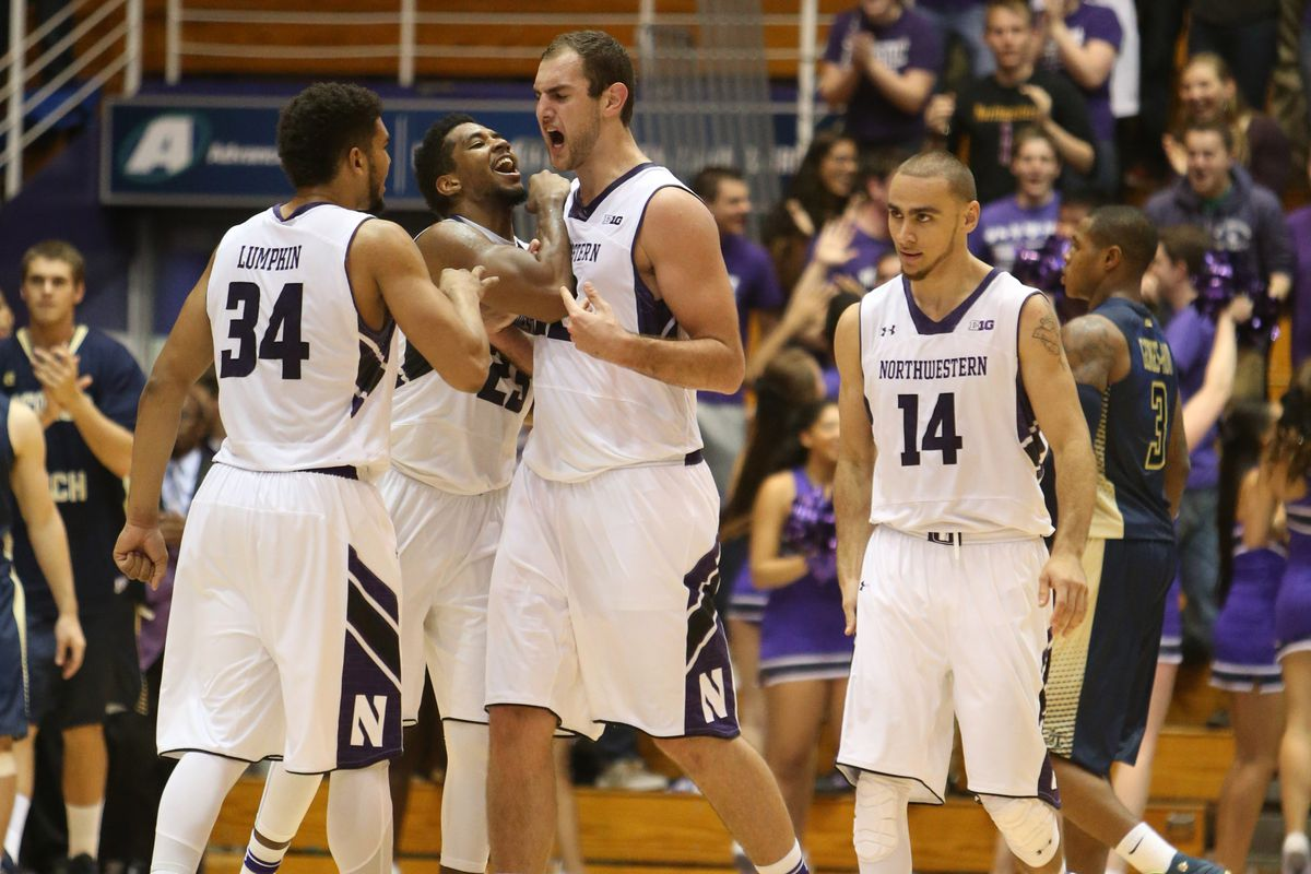 Alex Olah (center) and Tre Demps (right) will be key for Northwestern in 2015-2016