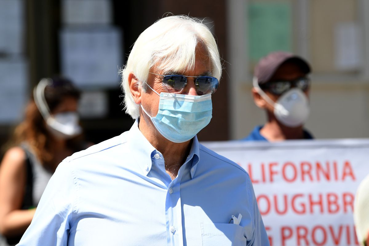 Trainer Bob Baffert joins horse racing industry workers call to re-open Santa Anita Track in front of the offices of the Board of Supervisors of Los Angeles on April 28, 2020 in Los Angeles, California.