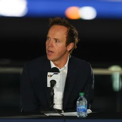 Ryan Smith, CEO of Qualtrics, speaks at a press conference announcing Smith's purchase of the Utah Jazz from Gail Miller at Vivint SmartHome Arena in Salt Lake City on Wednesday, Oct. 28, 2020.