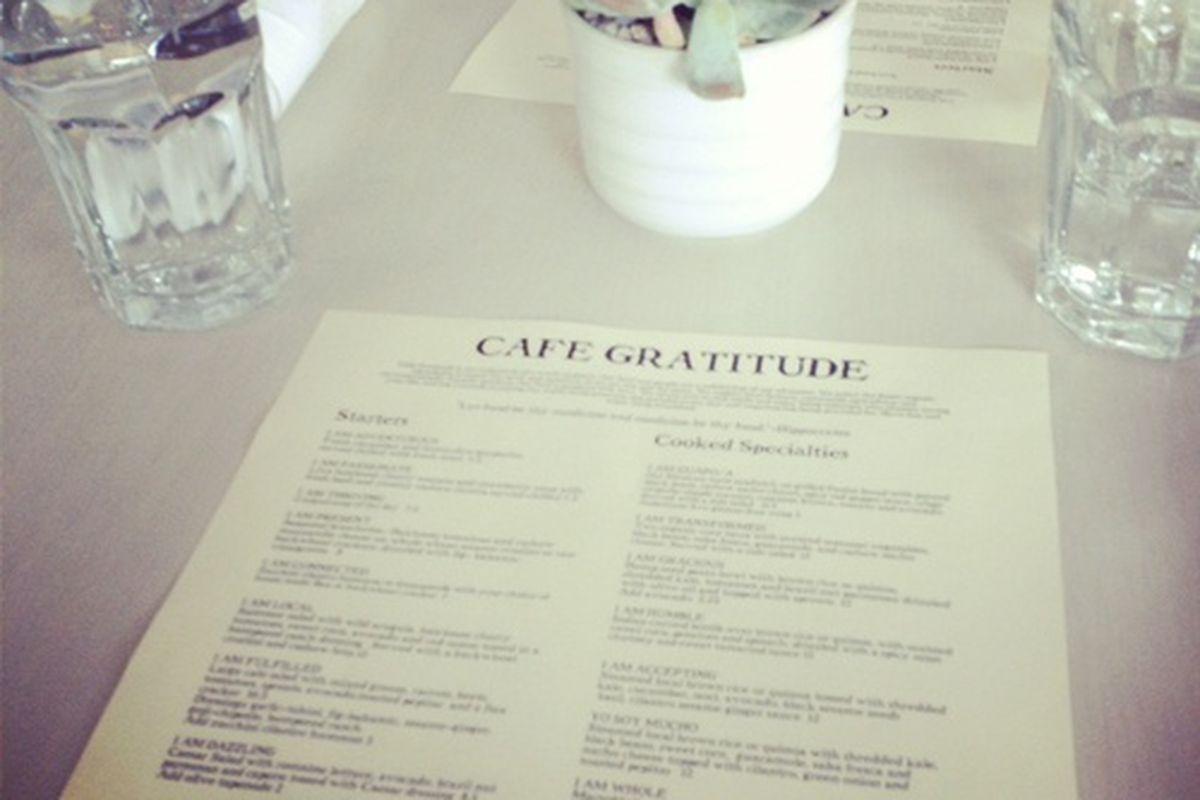 Cafe Gratitude, Venice.