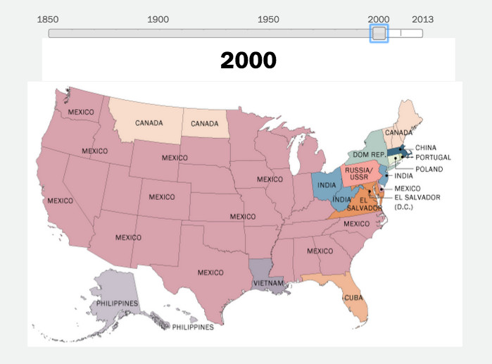Years Of US Immigration Trends Mapped Vox - Map of the us 1850